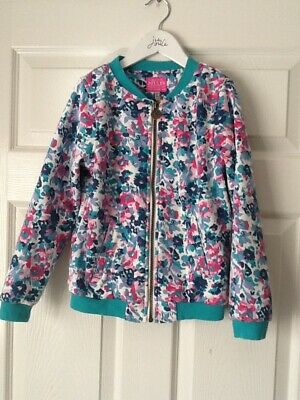 Girls Joules floral biker style jacket age 7-8 years