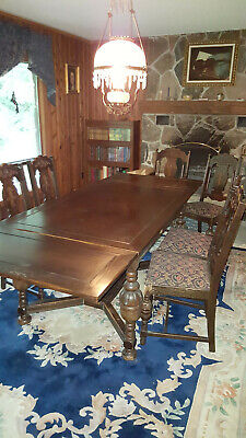 Rare Antique 9 piece hand-carved solid oak dining room set--dark walnut stain