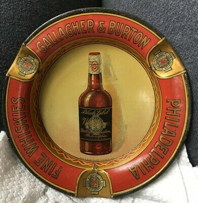 Vintage Pre Prohibition Tip Tray Ashtray GALLAGHER & BURTON Philadelphia Whiskey