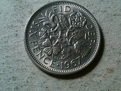 Great Britain Sixpence 1967 6 pence   Wedding coin gift BU toned young queen