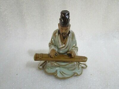 Vintage Chinese Japanese Shiwan Mud Man Glazed Art Pottery Bonsai Clay Figurine
