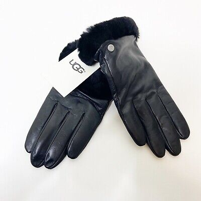NWT UGG Size Large Black Shearling Cuff Shorty Leather Gloves $110