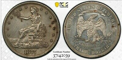 1877-S T$1 Trade Dollar pcgs Genuine  Mint State US Coin R62