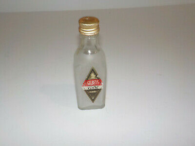 Miniature Vintage Gilbey's Gin Bottle Frosted Satin Glass 1/10 Pint