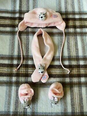 Baby Born Doll Pink Mouse Hat, Booties / Shoes & Scarf - Zapf Creation
