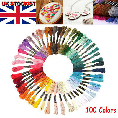 50 Colors Embroidery Thread Hand Cross Stitch Sewing Skeins Craft 8M Polyester