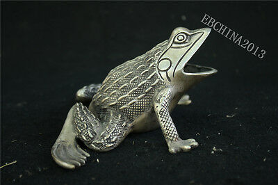 "6.8"" Collect China Tibet Silver Cupronickel Frog Toad Lucky Statue Sculpture"