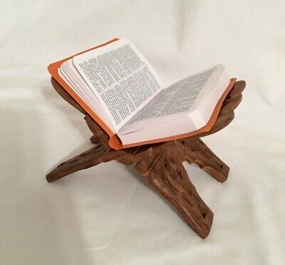 Vintage Rose Wood Carved Prayer Book Bible Cookbook Holder Folding Stand Ornate