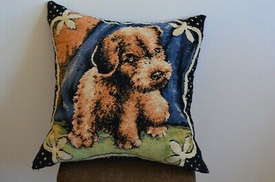 Vintage Pictorial Wool Tapestry Needlepoint Cushion - Puppy.