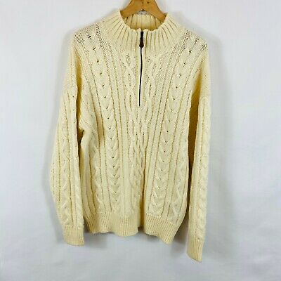 Woolovers Cable Knit British Wool Sweater Half Zip Mens Medium M Ivory