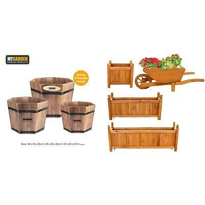 Wooden Garden Planters Outdoor Plants Flowers Pot Rectangular Display NEW
