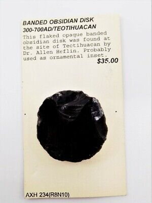 Pre-Columbian Banded Obsidian Disc,  Authentic