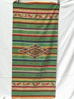 "Antique Vintage Mexican Saltillo Serape 36"" 77"" Finely Woven"