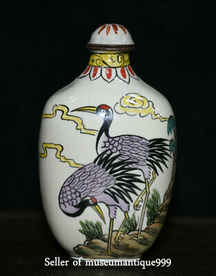 8CM Qianlong Marked Old China Cloisonne Dynasty Cranes Bird Snuff Bottle