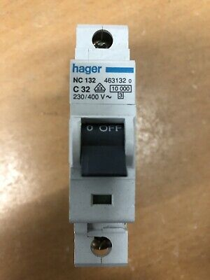 Hager MCB 32 Amp Single Pole Circuit Breaker Type C 32A C32 463132 NC132