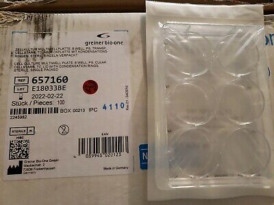 (100) Greiner-Bio-One 657160 CELLSTAR 6 Well Cell Culture Multiwell Plate