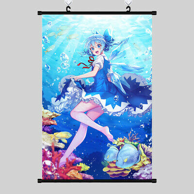 Japanese Anime touhou cirno Cosplay Wall Poster Home Decor Scroll Gift 60*90cm