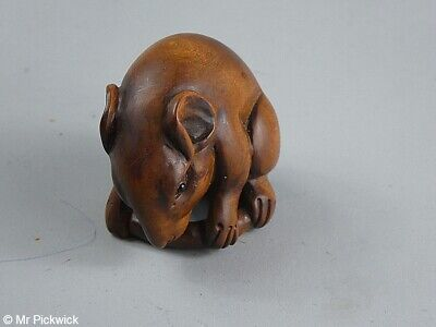 Round Tail Mouse Netsuke