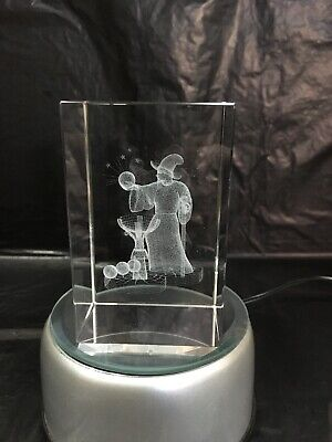 Wizard 3D laser crystal block - ornament - gift - paperweight - 5x5x8cm - Boxed