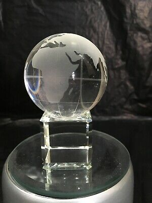 Etched Globe crystal block - ornament - gift - paperweight - 5x5x8cm - Boxed