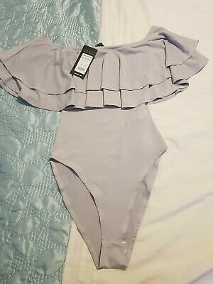 New Womens Ex New Look Cream with Lace Frill Bardot Neckline Bodysuit Size 6-14