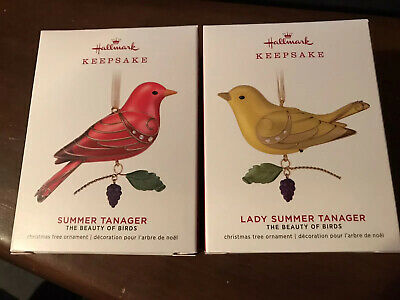 2019 Hallmark Lady Summer Tanager Beauty of Birds Ornaments Lot Set Of 2
