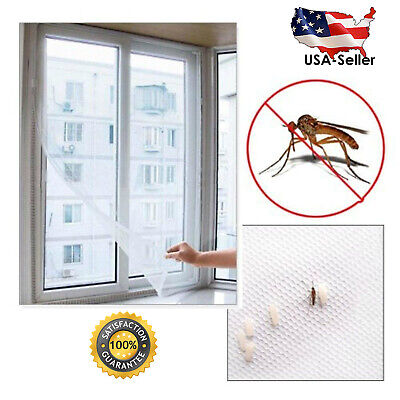 US Mesh Window Magic Curtain Snap Fly Bug Insect Mosquito Screen Net White New