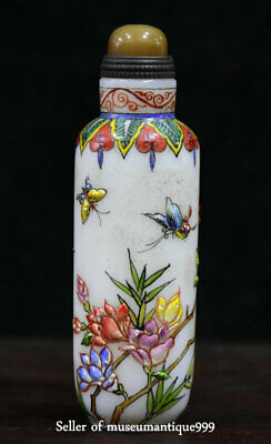 "3.6"" Old China Flower butterfly Hand Painted Peking Enamel Glass Snuff Bottle"