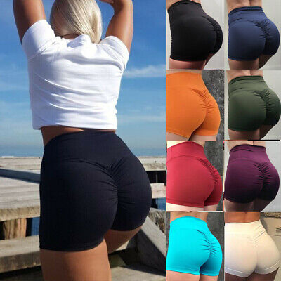 Womens High Waist Yoga Shorts Scrunch Pants Gym Workout Sports Skinny Hip Ruched