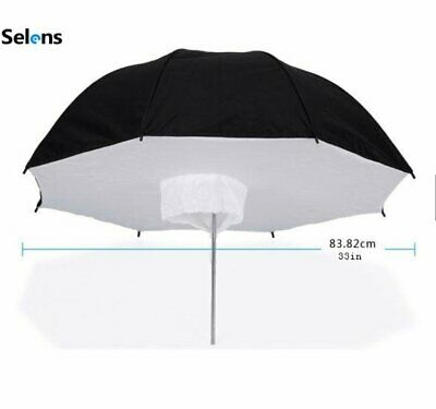 "Selens 33"" Black Silver Reflective Umbrella Softbox for Studio Photo Shoot Light"
