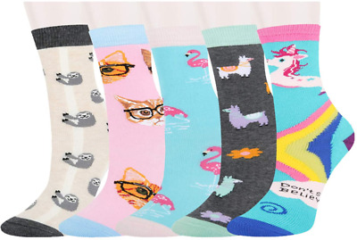 Zmart 5 Pack Girls Novelty Cute Unicorn Socks, Colorful Fun Animal Pattern