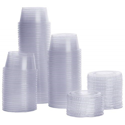 Small Sauce Containers Lids Disposable Salad Dressing Cup Plastic - 100 set 2 Oz