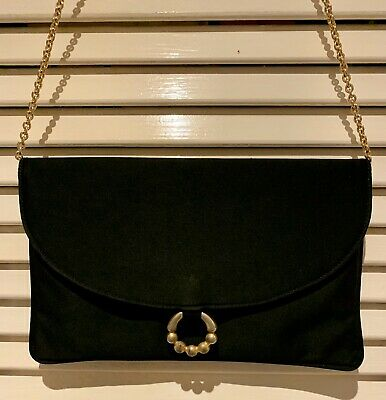 Vintage rodo Italy Black With Gold Detail Evening Bag