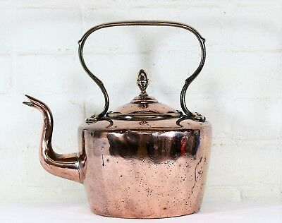 Large Antique English Copper Kettle 19th C. Brass Fittings & Hand Cut Dovetails