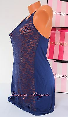 S Small VICTORIA'S SECRET VS Lace Modal Stretch Babydoll Chemise Blue Navy NWT