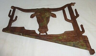 Antique Cast Iron Sign Bracket Steer Head & Cactus in Paint