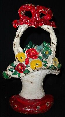 Antique Painted Cast Iron Door Stop White Basket of Flowers