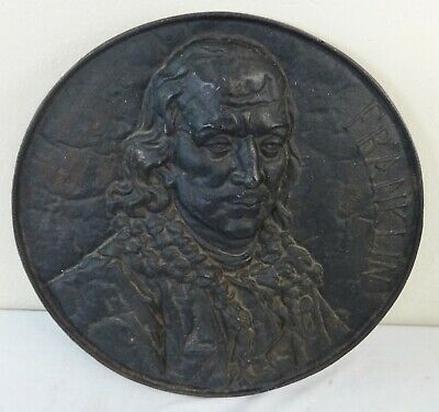Antique Cast Iron Circular Wall Plaque of Benjamin Franklin Prob. from a Bank