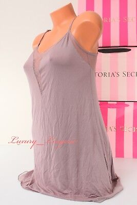 NWT VICTORIA'S SECRET VS Lingerie Sleep Babydoll Chemise Mesh Taupe M Medium
