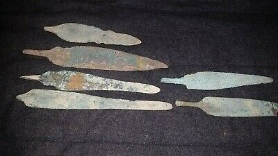 Ancient Luristan Bronze AGE  LARGE 6 SPEAR HEADS C.400 BC.
