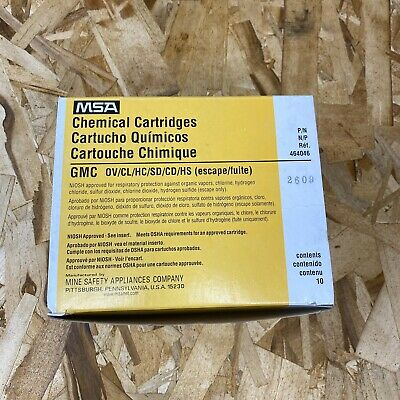 10pk, MSA Chemical Cartridges GMC Type Part No. 464046