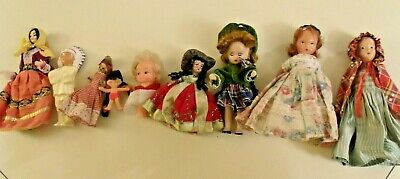 Lot Of 9 Small Vintage Mixed Dolls, International, Storybook +