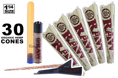 AUTHENTIC RAW (30 CONES) ORGANIC Hemp Pre-Rolled + Lighter + Tube + Cone Loader