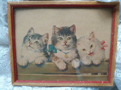 Adorable vintage print of 3 kittens