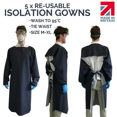 5 x PPE Isolation Gown - Waterproof  PU - Wash at 95 - BS7175 CRIB5 Hospital