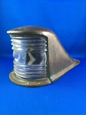 Vintage Brass Cast Bow Boat Light, Clear Glass Lens