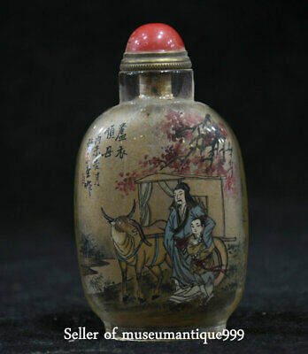 3.8' Old China Person Boy Cattle Inside Hand Painted Glass Snuff Bottle&Box