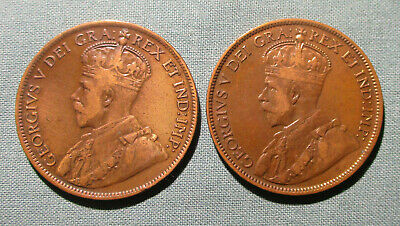 CANADA 1915 and 1916 Large Cent - (2) 1 penny coin George V