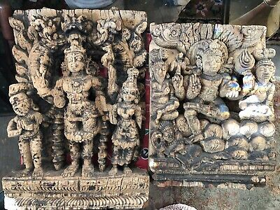 18th Century India Hindu Wood Carving Sculpture Vishnu Shridevi & Bhudevi