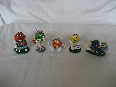 M&M's- 5 M&M Ceramic Easter Figurines-  New-  Excellent Condition